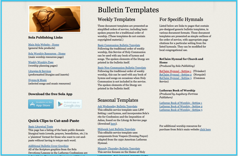 sola publishing - Weekly Bulletin Template