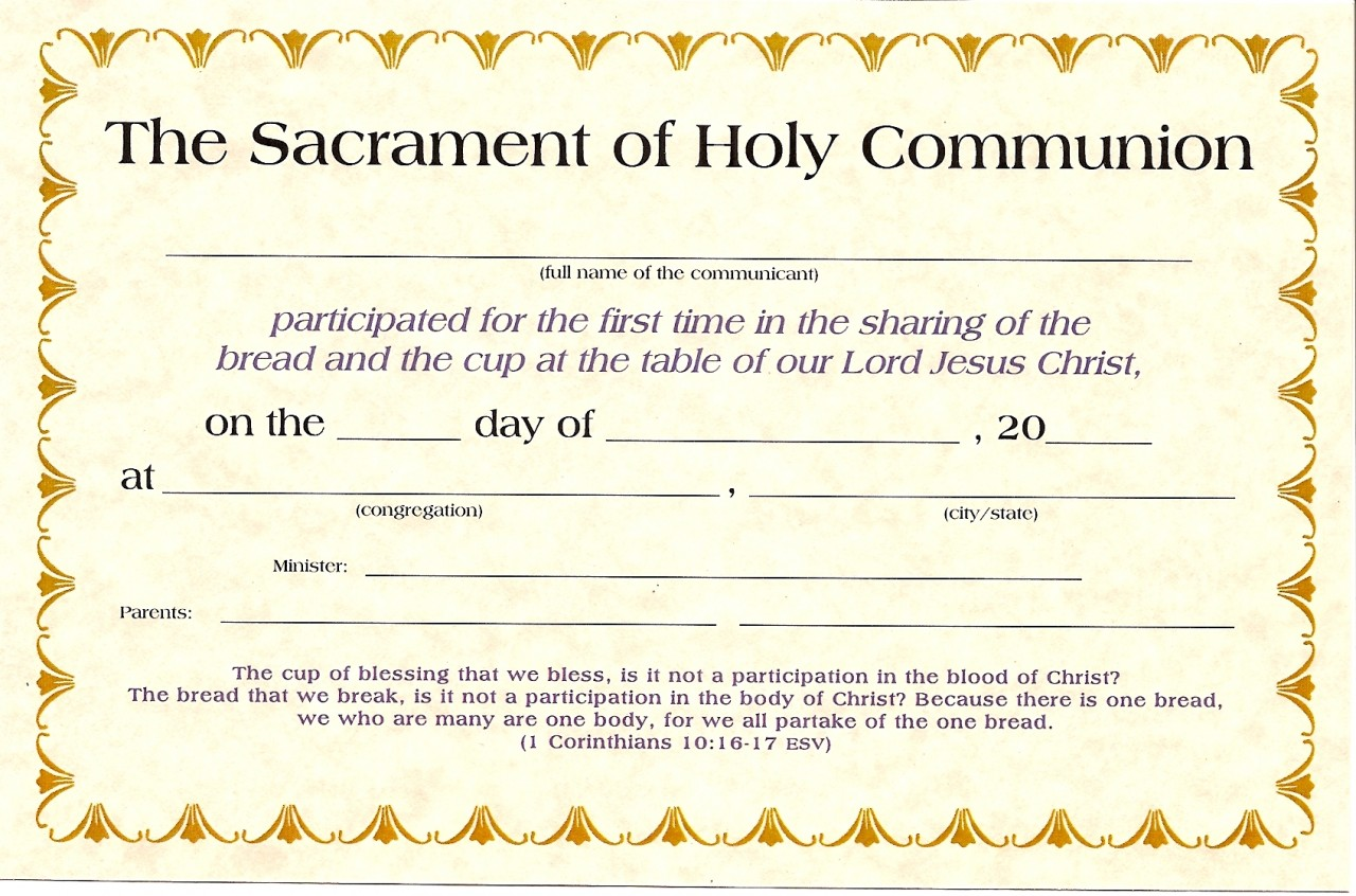 First Communion Certificates K-1530
