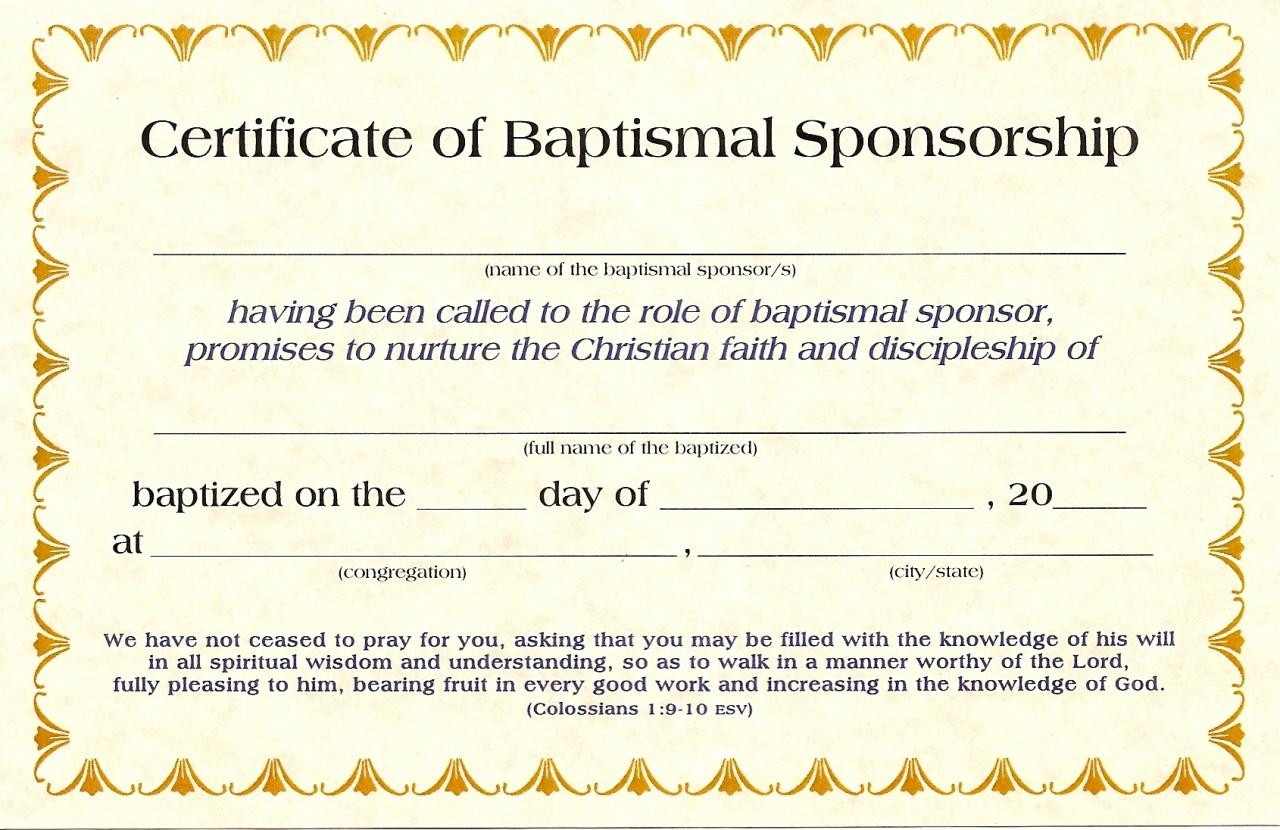 Baptismal Sponsor Certificates K-1570