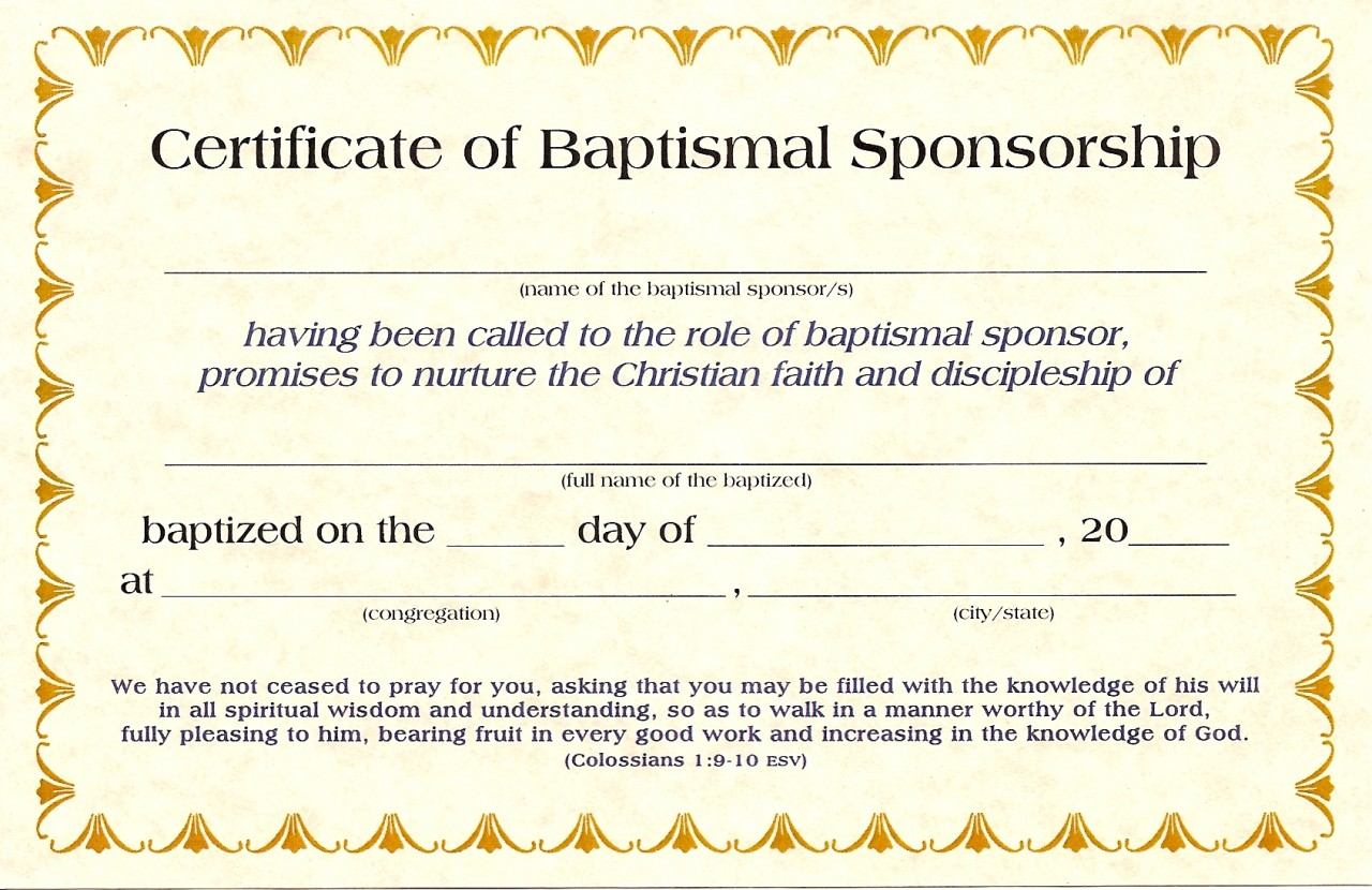 Baptismal Sponsor Certificates