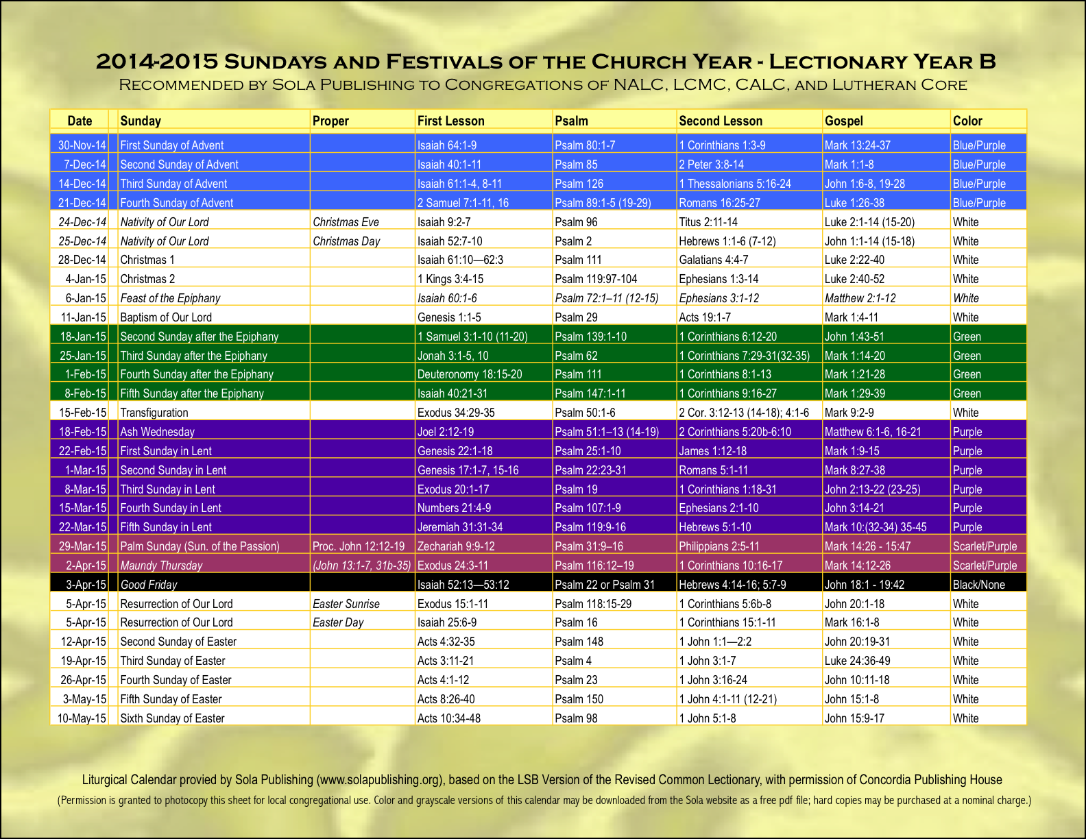 2016 Elca Liturgical Calendar | Calendar Template 2016