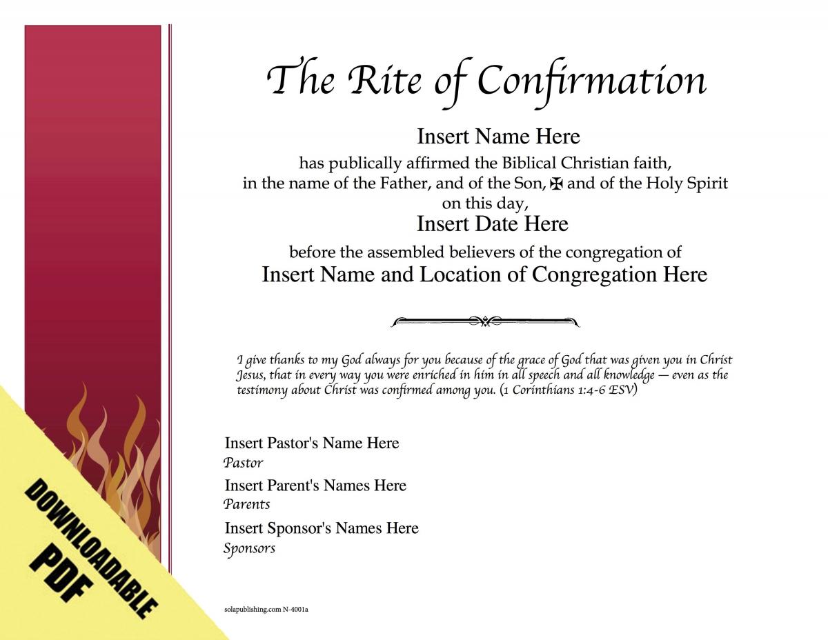 Editable Worship Certificates N-4001 | Sola Publishing