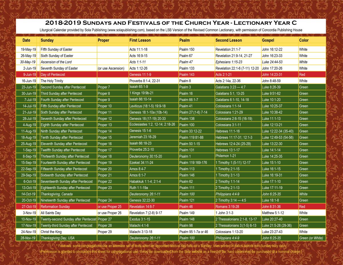 2019 liturgical calendar year c