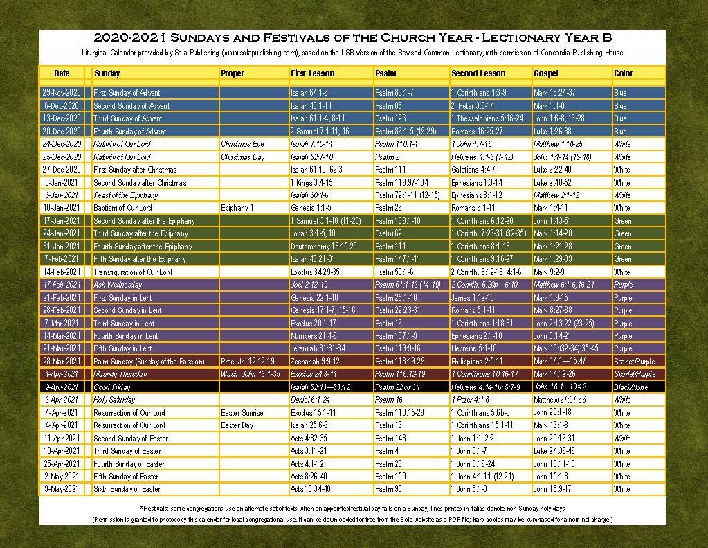 2021 Liturgical Calendar (Year B) K 2021 | Sola Publishing